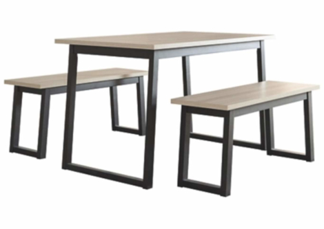 Waylowe Two-Tone Dining Table and Benches (Set of 3) (D201-125)