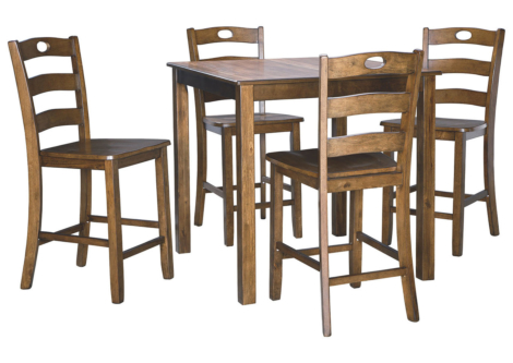 Hazelteen Brown Square Counter Table Set (D419-223)