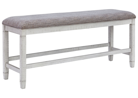 Teganville Antique White Counter Height Dining Bench (D755-09)